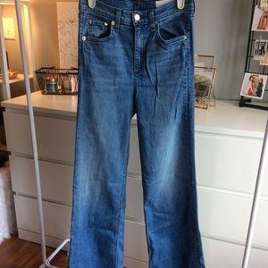 Rag & bone wide leg flare jeans distressed hem